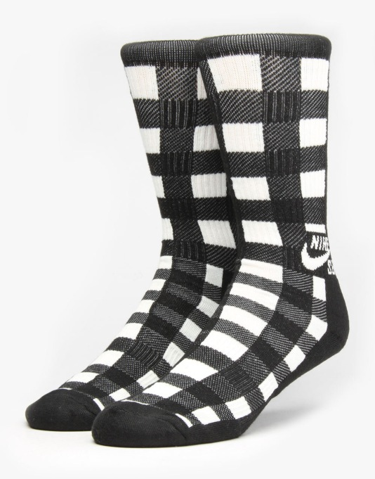 Nike SB Buffalo Plaid Crew Socks - Black/Sail