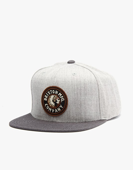 Brixton Rival Snapback Cap - Heather Grey/Charcoal