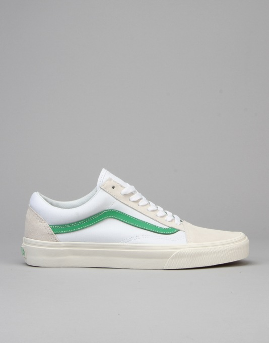 Vans Old Skool Skate Shoes - (Vintage Sport) True White/Kelly Green