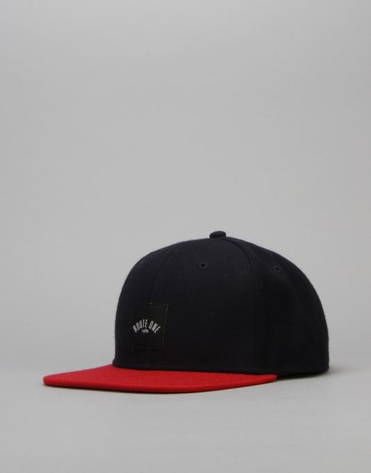 Route One Box Logo Snapback Cap - Navy