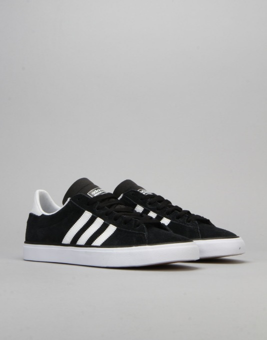 Adidas Campus Vulc II Skate Shoes - Core Black/FTWR White/Gum