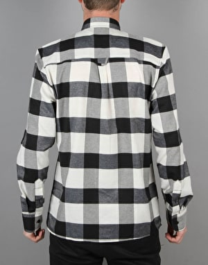 Route One Large Check Flannel Shirt - Black