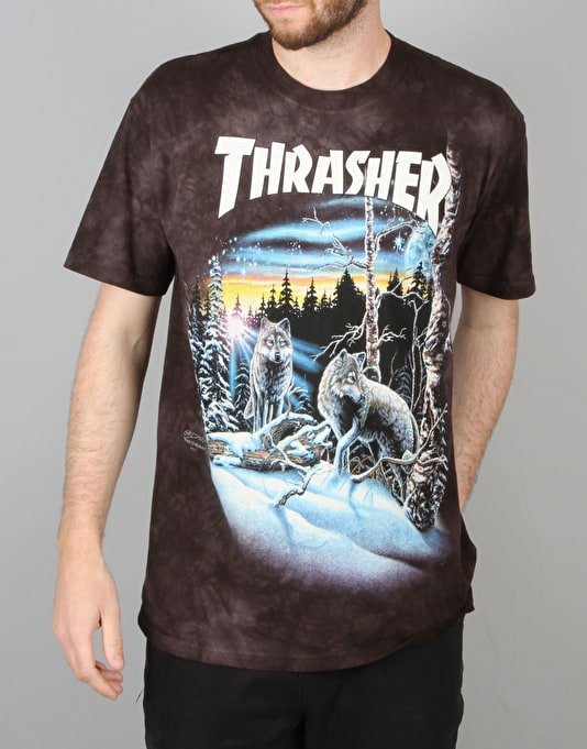 Thrasher 13 Wolves T-Shirt - Black Tie Dye