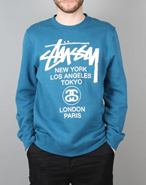 Stüssy World Tour Crew Sweatshirt - Blue