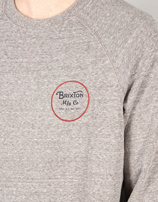 Brixton Wheeler Crew Fleece - Heather Grey/Maroon