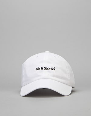 40's & Shorties Text Logo Unstructured Strapback Cap - White