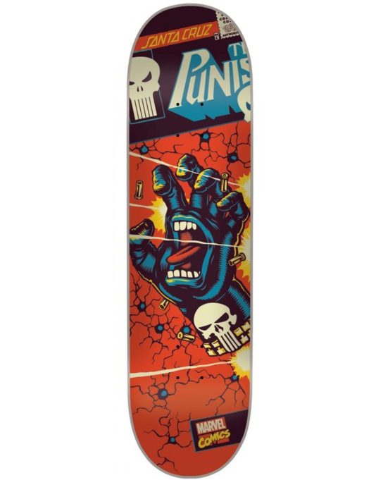 Santa Cruz x Marvel Punisher Hand Skateboard Deck - 8.375""