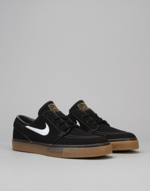 Nike SB Zoom SB Stefan Janoski Canvas Skate Shoes - Black/White