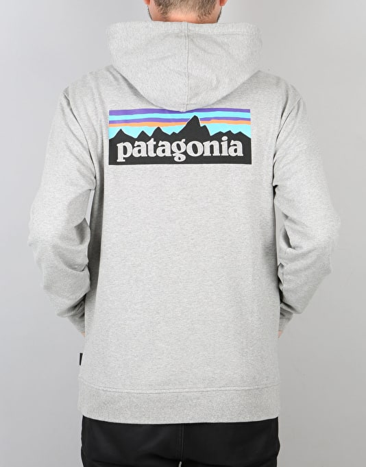 Patagonia P-6 Logo Midweight Full Zip Hoodie - Feather Grey
