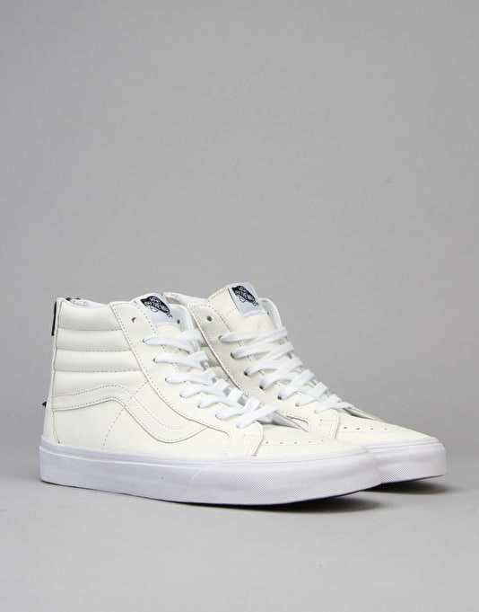 Vans SK8-Hi Reissue Zip Skate Shoes - (Premium Leather) White/Black
