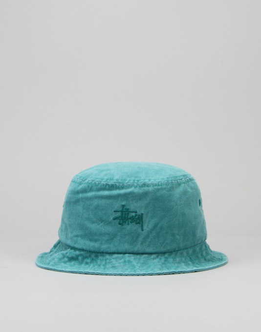 Stüssy Smooth Stock Enzyme Wash Bucket Hat - Teal