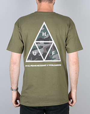 HUF Triple Triangle Streaky Wash T-Shirt - Olive