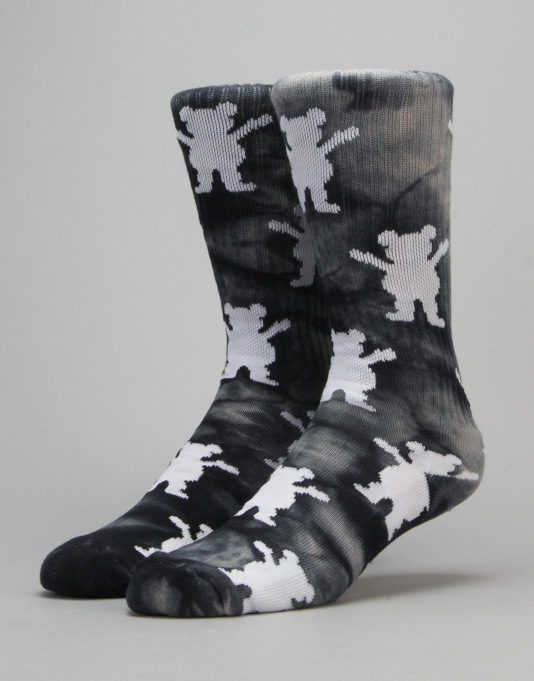 Grizzly Repeat Tie Dye Socks - Black