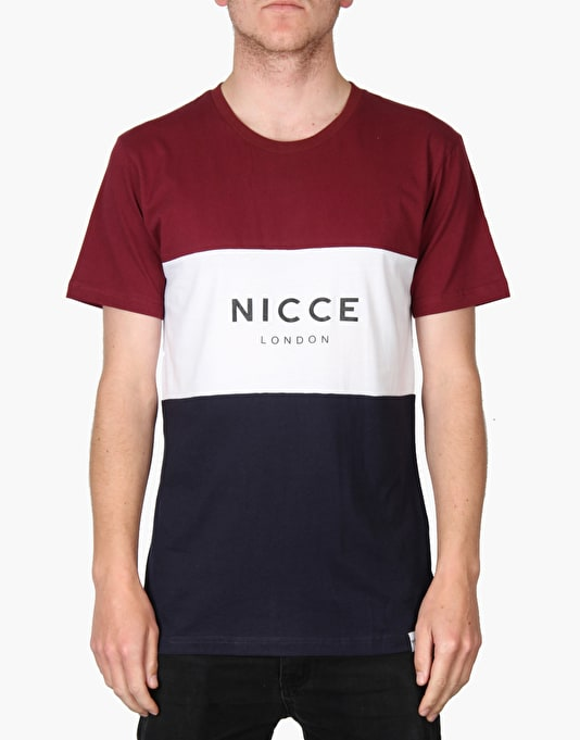 Nicce Triple Panel T-Shirt - Burgundy