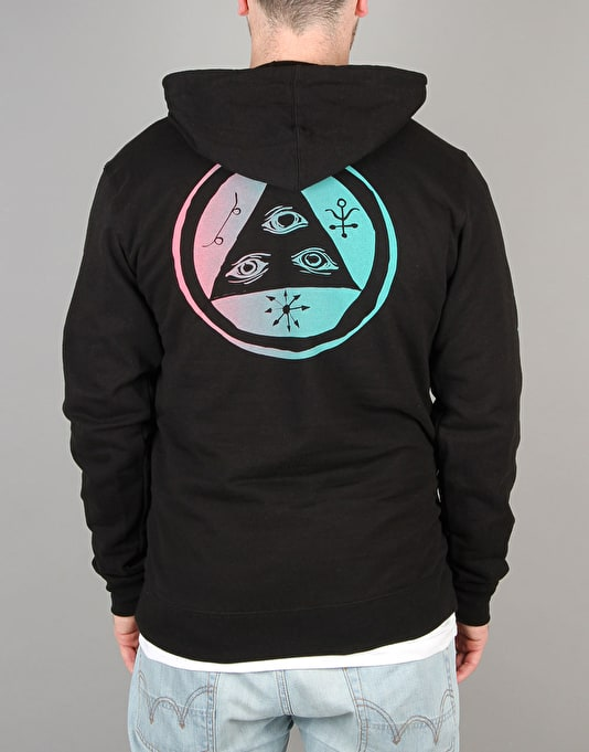 Welcome Tali-Scrawl Lightweight Pullover Hoodie - Black/Pink/Teal