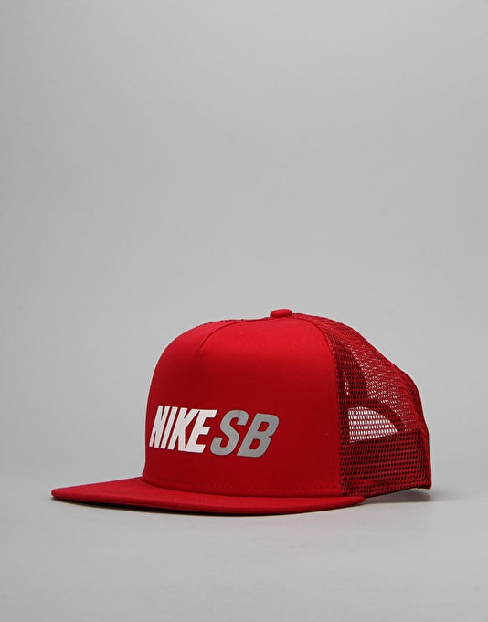Nike SB Reflective Trucker Cap - Gym Red/Gym Red/White