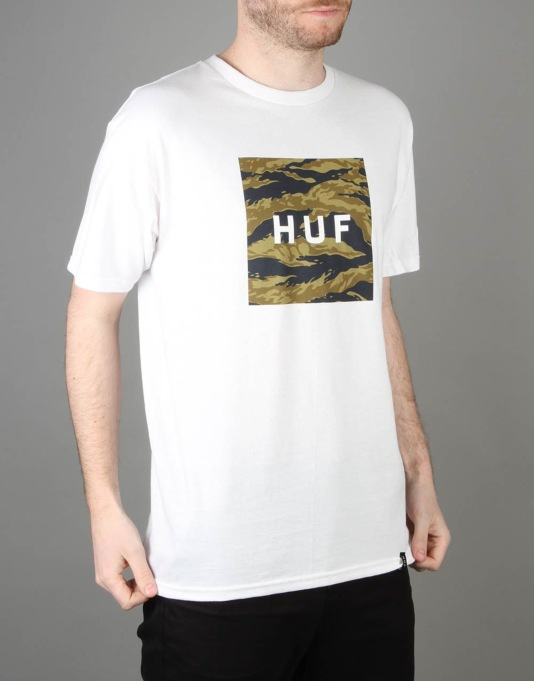 HUF Tiger Camo Box Logo T-Shirt - White