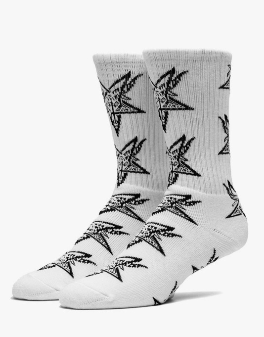 HUF x Thrasher Goat Crew Socks - White/Black