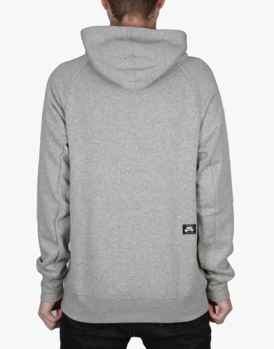 Nike SB Icon Griptape Pullover Hoodie - Dk Grey Heather/White