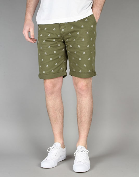 Route One Rose Printed Chino Shorts - Olive