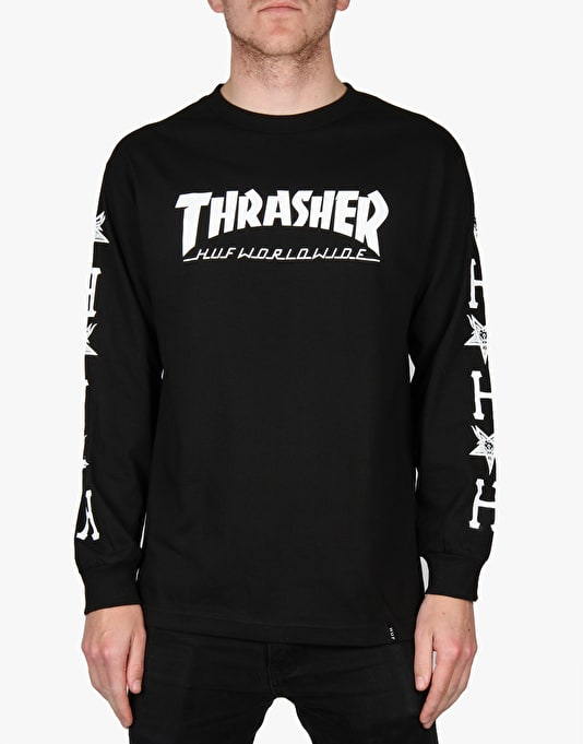 HUF x Thrasher Collab Logo L/S T-Shirt - Black