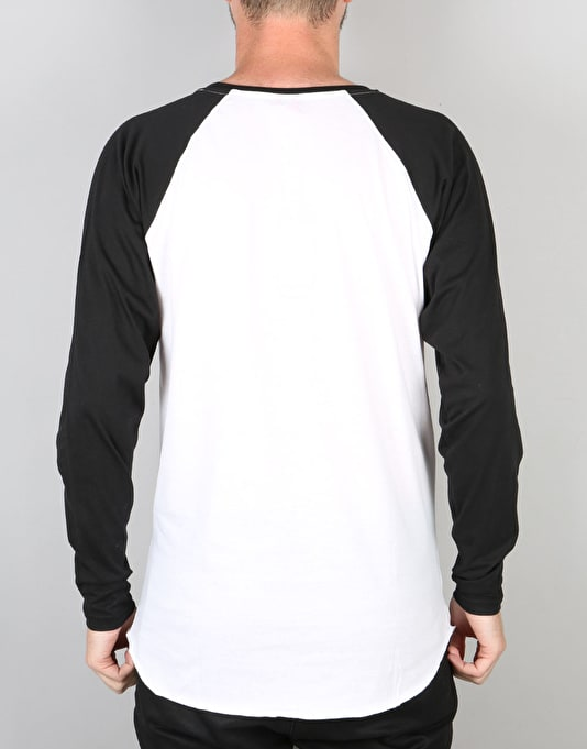 Santa Cruz Small Dot L/S Baseball T-Shirt - Black/White