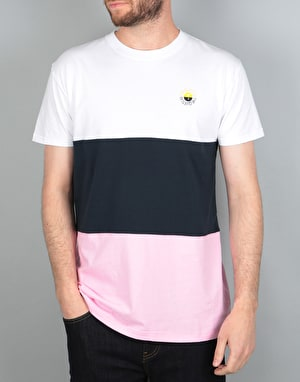 The Quiet Life Solar Blocked T-Shirt - White/Navy/Pink