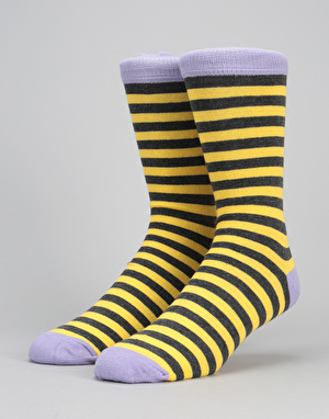 Route One Contrast Socks - Yellow/Grey/Lilac