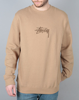 Stüssy New Stock Applique Crew Sweatshirt - Light Brown