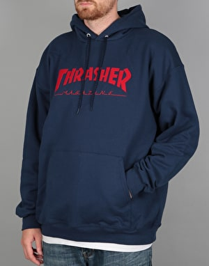 Thrasher Felt Stitched Skate Mag Pullover Hoodie - Navy
