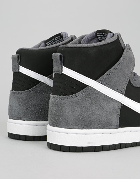Nike SB Dunk High Premium SB Skate Shoes - Dark Grey/White Black