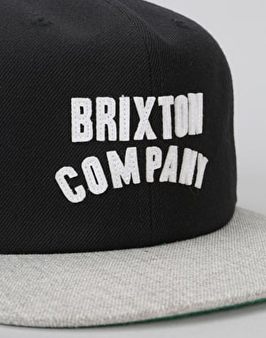 Brixton Woodburn Snapback Cap - Black/Light Heather Grey