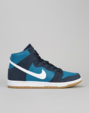 Nike SB Dunk High Premium SB Skate Shoes - Obsidian/White-Ind. Blue