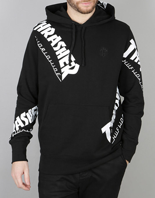 HUF x Thrasher TDS Allover Pullover Hoodie - Black