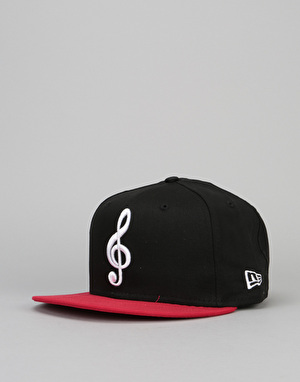 New Era The Clef Snapback Cap - Black/Scarlet