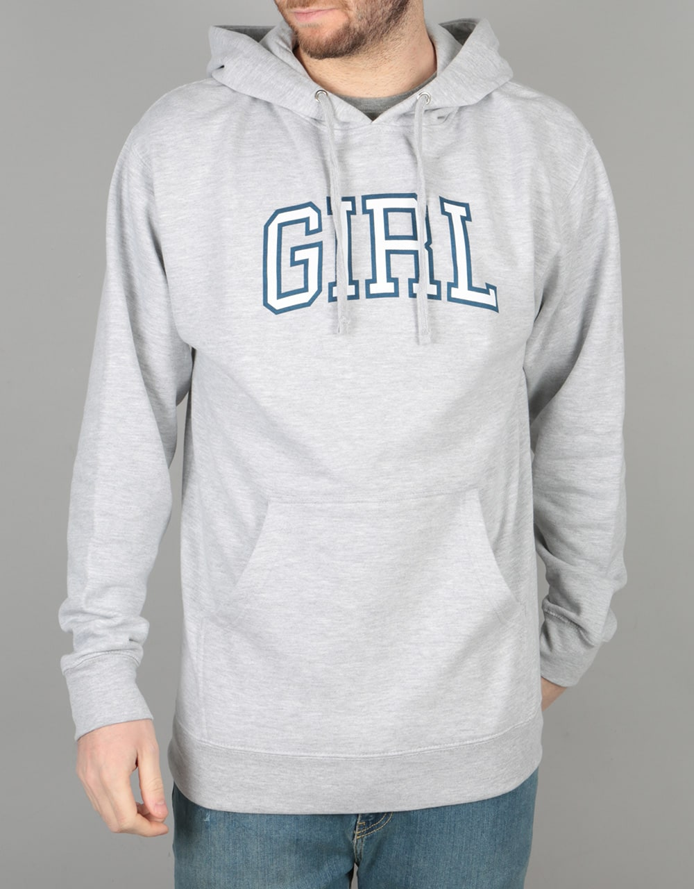 Cheap Girl Skateboards Heather Grey Arch Pullover Hoodie for Men Sale