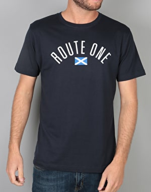 Route One Scottish Arch Logo T-Shirt - Navy