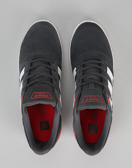 Adidas ZX Vulc Skate Shoes - Solid Grey/Solid Grey/Scarlet