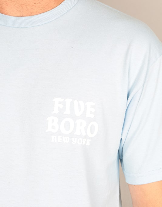 5boro Skull & Cat T-Shirt - Powder Blue