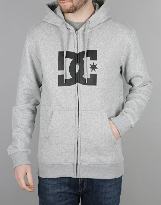 DC Star Zip Hoodie - Heather Grey/Black