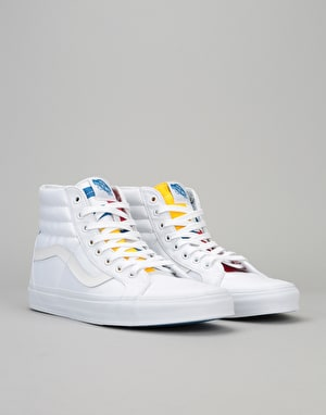 Vans Sk8-Hi Reissue Skate Shoes - (1966) True White/Blue/Red