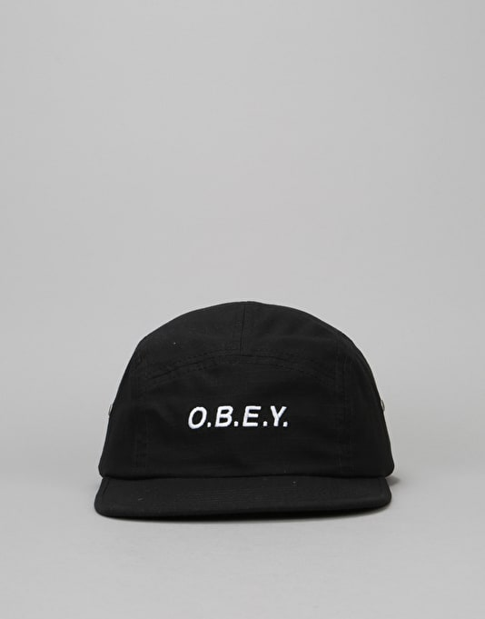 Obey Contorted 5 Panel Cap - Black