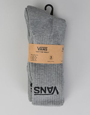 Vans Classic Crew 3 Pack Socks - Heather Grey
