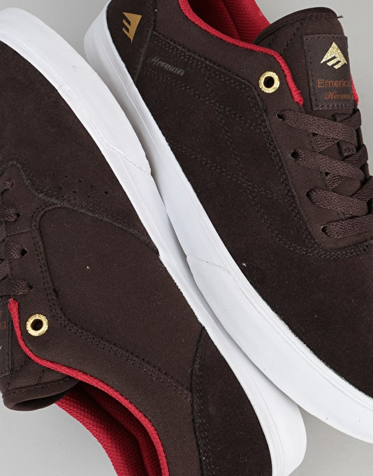 Emerica The Herman G6 Vulc Skate Shoes - Brown/White