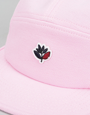 Magenta Plant Cotton Piqué 5 Panel Cap - Rose