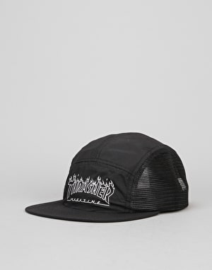 Thrasher Flame Outline 5 Panel Cap - Black