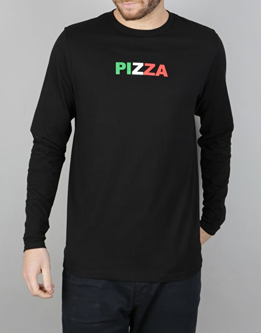 Pizza Tri-Colour Logo L/S T-Shirt - Black