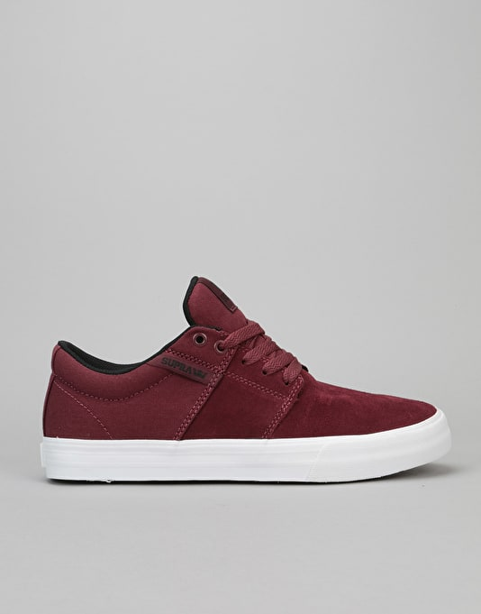 Supra Stacks II Vulc Skate Shoes - Burgundy/Black-White
