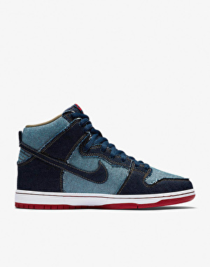Nike SB Dunk High TRD QS Reese Forbes Blue Denim Skate Shoes