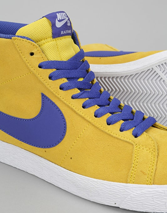 Nike SB Blazer Mid Skate Shoes - Tour Yellow/Deep Night-White